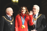 Amy Williams with the Mayor and Chair